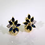 Modern Estate Ladies 14K Yellow Gold Diamond Spinel Floral Latch Back Earrings
