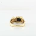Superb 14K Yellow Gold Round Diamond Onyx Mens Ring