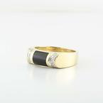 Handsome 14K Yellow Gold Black Onyx Round Diamond Mens Ring