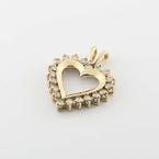 Lovely Edwardian 10K Yellow Gold Round Diamond Vintage Heart Pendant
