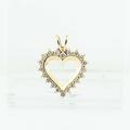 Lovely Edwardian 10K Yellow Gold Round Diamond Vintage Heart Pendant