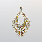Estate Retro 18K Yellow Gold Vintage Ornate Enamel Pendant