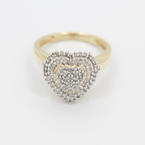 Lovely Ladies 10K Yellow Gold Diamond 1.15CTW Heart Right Hand Ring Jewelry