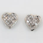 NEW Modern 14K White Gold Princess Cut Diamond 1.05CTW Heart Stud Earrings Jewelry
