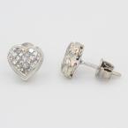 Lovely Ladies 14K White Gold Diamond 1.05CTW Heart Stud Earrings Jewelry