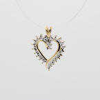 Lovely Ladies 10K Yellow Gold Diamond 0.01CTW Illusion Setting Heart Pendant Jewelry