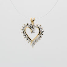 Ladies Vintage Estate 10K Yellow Gold Diamond Illusion Setting Heart Pendant