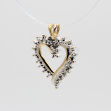 Lovely Ladies Estate 10K Yellow Gold Diamond 0.01CTW Illusion Setting Heart Pendant Jewelry