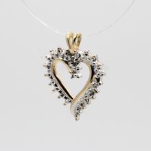 Ladies Vintage Estate 10K Yellow Gold Diamond Illusion Setting Heart Pendant