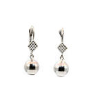 Retro Vintage Estate 14K White Gold Disco Ball Drop Earrings Jewelry
