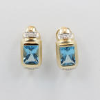 Classic Retro Vintage 14K Yellow Gold Light Blue Zirconia and Diamond Omega Earrings