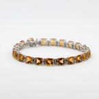 Vibrant Ladies 14K White Gold Citrine and Diamond 22.22CTW Tennis Bracelet Jewelry
