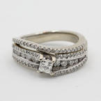 Exquisite Vintage Estate 14K White Gold Diamond Ladies Wedding Ring - 1.00CTW