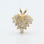 Cute Vintage Estate 14K Yellow Gold Natural Diamond 0.49CTW Heart Pendant Jewelry