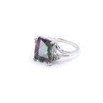 Exquisite Ladies 14K White Gold Mystic Topaz Diamond 5.45CTW Cocktail Ring Jewelry