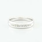 Fine 14K White Gold Round Diamond Wedding Band Mens Ring