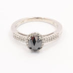 Stunning Ladies 14K White Gold Black Diamond 1.10CTW Engagement Ring Jewelry