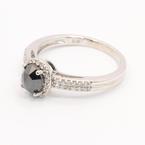 Stunning Ladies 14K White Gold Black Diamond 1.10CTW Engagement Ring Jewelry