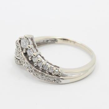 Vintage Classic Estate Ladies 10K White Gold Diamond Ring Jewelry - 0.50CTW