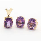 Vibrant Ladies 14K Yellow Gold Amethyst 4.50CTW Earrings & Pendant Set