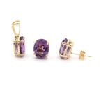 NEW Modern Ladies 14K Yellow Gold Amethyst 4.50CTW Earrings & Pendant Set