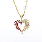 Lovely Ladies 14K Yellow Gold Diamond and Spinel Heart Pendant and Chain Jewelry
