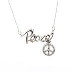 Charming Ladies Estate 14K White Gold Diamond Peace Necklace Jewelry