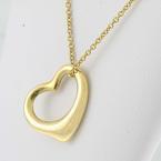 Authentic Tiffany & Co 18K Yellow Gold Elsa Peretti Open Heart Pendant Necklace