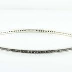 Gleaming 14K White Gold Black Round Diamond Estate Bangle Bracelet
