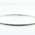 Gleaming 14K White Gold Black Round Diamond Estate Bangle Bracelet