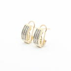 Classic Estate Womens 10K Yellow Gold Natural Diamond 0.40CTW Huggie Earrings Jewelry