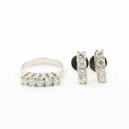 Fine Vintage Estate Ladies 14K White Gold Natural Diamond 1.95CTW Two Piece Jewelry Set