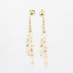 Lustrous Ladies 14K Yellow Gold Baroque White Pearl Drop Earrings Jewelry