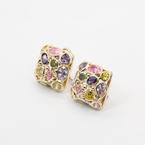 Retro Vintage 14K Yellow Gold Multi-Colored 5.00CTW Gemstones Earrings