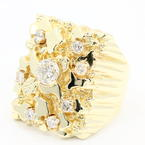 Handsome Men's 14K Yellow Gold Diamond 1.75CTW Nugget Ring Jewelry