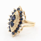 Charming Ladies 14K Yellow Gold Sapphire and Diamond 2.80CTW Cocktail Ring Jewelry