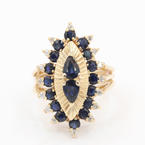 Fine Vintage Estate 14K Yellow Gold Blue Sapphire Diamond 2.80CTW Cocktail Ring