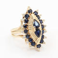 Ladies Classic Estate 14K Yellow Gold Diamond & Blue Sapphire Cocktail Ring