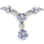 "Fine Modern 14K White Gold Diamond Sapphire 2.00CTW Floral 15"" Necklace Jewelry"