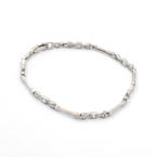 "Unique Vintage 14K White Gold Cubic Zirconia 1.00CTW Accent 7"" Bracelet Jewelry"