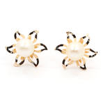 Classic Ladies 18K Yellow Gold Pearl Floral Earrings Jewelry