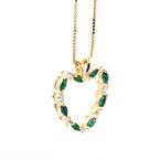 Classic Estate 14K Yellow Gold Diamond & Green Tourmaline Heart Pendant & Chain
