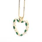 Lovely Ladies 14K Yellow Gold Diamond Tourmaline 1.15CTW Heart Pendant Jewelry