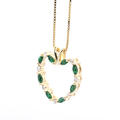 Lovely Ladies 14K Yellow Gold Diamond Tourmaline 1.15CTW Heart Pendant Jewelry