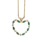 "Vintage 14K Yellow Gold 18"" Box Chain Diamond Tourmaline 1.15CTW Heart Pendant"