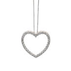 "Fine Classic10K White Gold Diamond 0.50CTW Heart Pendant and 18"" Chain Jewelry"