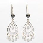 Stunning Ladies 14K White Gold Ornate Dangle Earrings Jewelry
