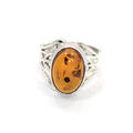 Retro Estate 925 Sterling Silver Amber Stone Ring size 8.25