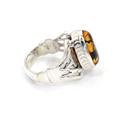 Retro Estate 925 Sterling Silver Amber Stone Ring size 8.25