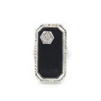 Fine Womens Vintage Art  Deco 14K White Gold Diamond and Onyx Ring Jewelry
